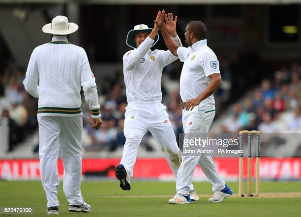 South Africa's Vernon Philander celebrates England's Joe Root being caught out during day one of the 3rd Investec Test match at the Kia Oval London