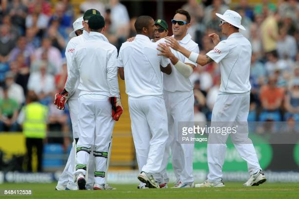 South Africa's Vernon Philander celebrates taking the wicket of England's Alistair Cook during the Investec Second Test match at Headingley Carnegie...