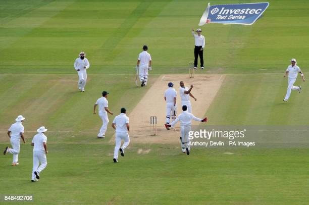 South Africa's Vernon Philander celebrates taking the wicket of England's Andrew Strauss lbw for 1 during the Third Investec Test Match at Lord's...