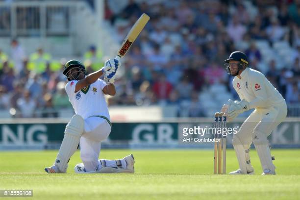 South Africa's Vernon Philander hits a six during play on the third day of the second Test match between England and South Africa at Trent Bridge...