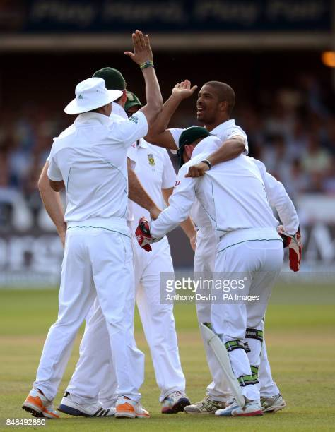 South Africa's Vernon Philander is congratulated after taking the wicket of England's Alastair Cook lbw for 3 during the Third Investec Test Match at...