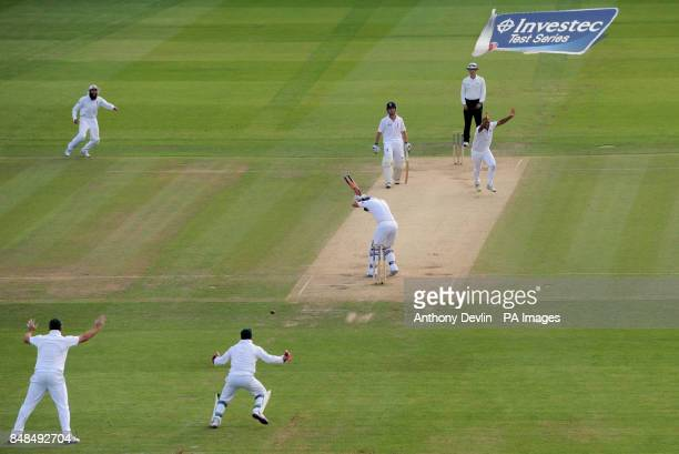 South Africa's Vernon Philander takes the wicket of England's Andrew Strauss lbw for 1 during the Third Investec Test Match at Lord's Cricket Ground...