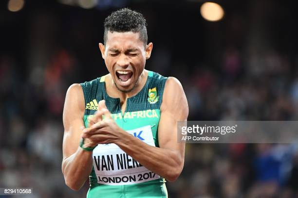 South Africa's Wayde Van Niekerk celebrates after winning second place in the final of the men's 200m athletics event at the 2017 IAAF World...