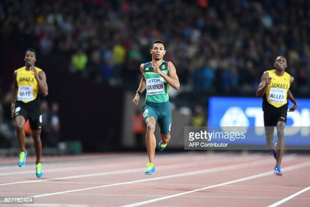 South Africa's Wayde Van Niekerk on his way to winning the final of the men's 400m athletics event at the 2017 IAAF World Championships at the London...