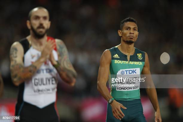 South Africa's Wayde Van Niekerk reacts after competing in the final of the men's 200m athletics event at the 2017 IAAF World Championships at the...