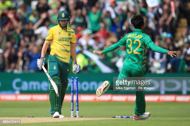 South Africa's Wayne Parnell stands dejected after being bowled out by Pakistan's Hasan Ali during the ICC Champions Trophy Group B match at...