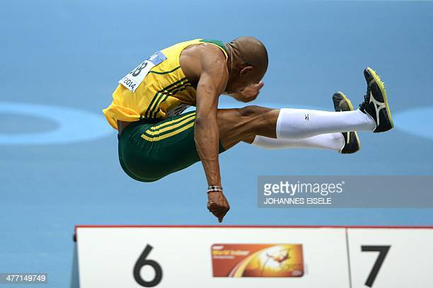 South Africa's Zarck Visser competes in the Men Long Jump qualification Group A event at the IAAF World Indoor Athletics Championships in the Ergo...