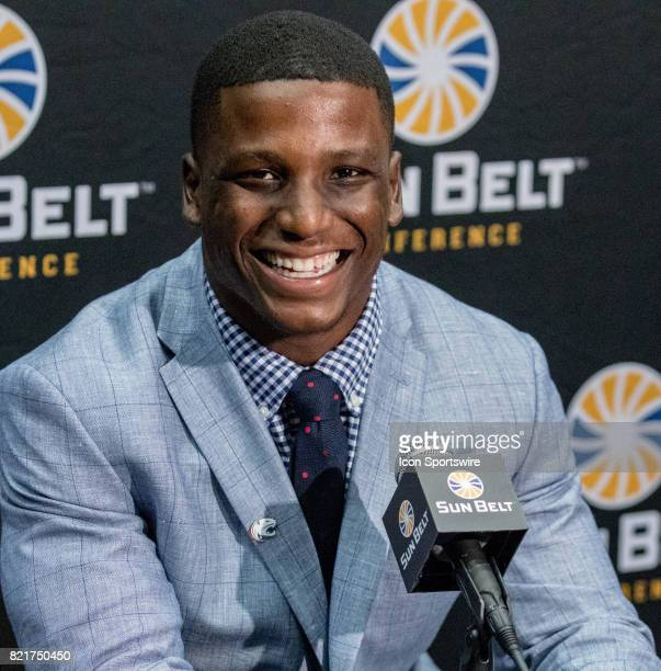 South Alabama defensive back Jeremy Reaves interacts with media during the Sun Belt Media Day on July 24 2017 at the MercedesBenz Superdome on