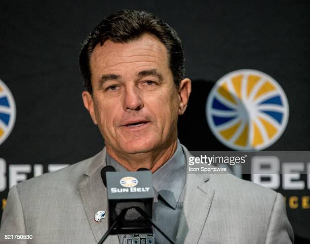 South Alabama head coach Joey Jones interacts with media during the Sun Belt Media Day on July 24 2017 at the MercedesBenz Superdome on