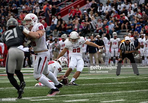 South Alabama Jaguars kicker Gavin Patterson nails his second extra point in the first quarter of the NOVA Home Loans Arizona Bowl NCAA football game...