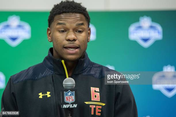 South Alabama tight end Gerald Everett answers questions from the media during the NFL Scouting Combine on March 3 2017 at Lucas Oil Stadium in...