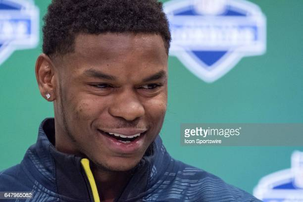 South Alabama tight end Gerald Everett answers questions to members of the press during the NFL Scouting Combine on March 3 2017 at Lucas Oil Stadium...