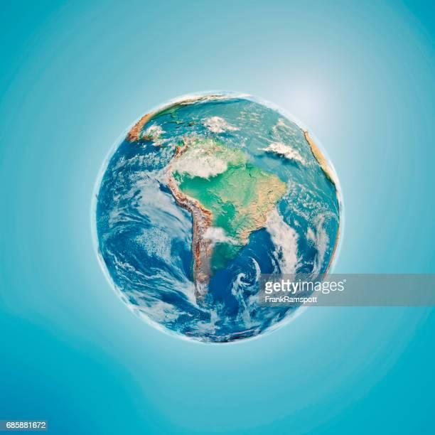 Südamerika 3D-Render Planet Erde Wolken