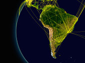 South America viewed from space with connections representing main air traffic routes. Elements of this image furnished by NASA.