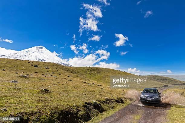 South America, Ecuador, Volcano Cotopaxi, Cotopaxi National Park, Jeep on road