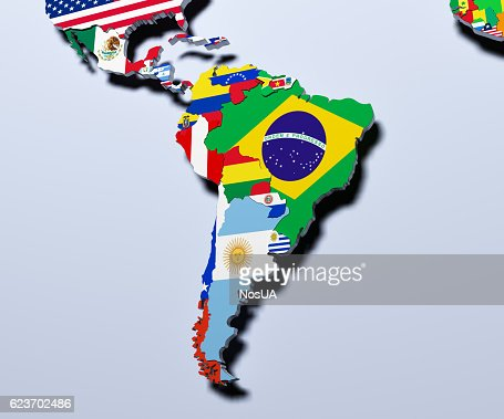 South America map 3d illustration : Stock Photo