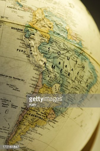 Old Color Map Of South America From S On Wood Stock Photo - Argentina globe map