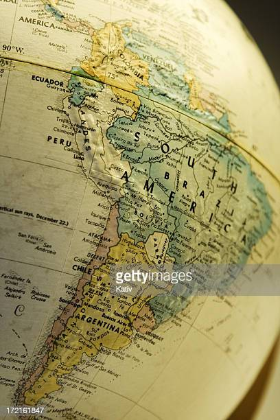 South America Map - Part of Old Globe