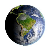South America on planet Earth on 3D model of Earth. 3D illustration with plastic planet surface and ocean floor isolated on white background. 3D model of planet created and rendered in Cheetah3D softw