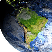 South America on 3D model of Earth. 3D illustration with plastic planet surface and ocean floor and visible city lights. 3D model of planet created and rendered in Cheetah3D software, 9 Mar 2017. Some