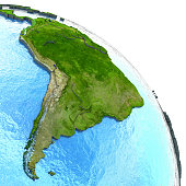 South America on 3D model of planet Earth with watery ocean and visible country borders. 3D illustration. 3D model of planet created and rendered in Cheetah3D software, 9 Mar 2017. Some layers of plan