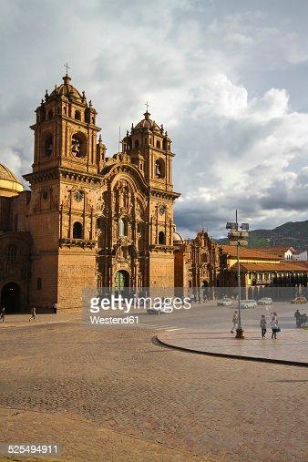 South America, Peru, Cusco, View of the jesuit church La Compania de Jesus