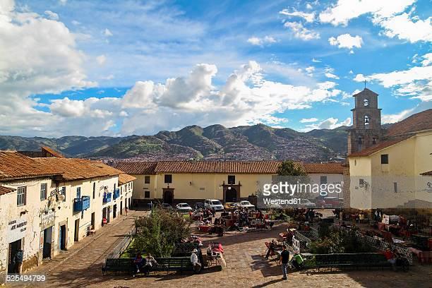 South America, Peru, Cusco, View of the market in San Blas