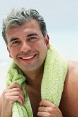 South American man with towel around neck