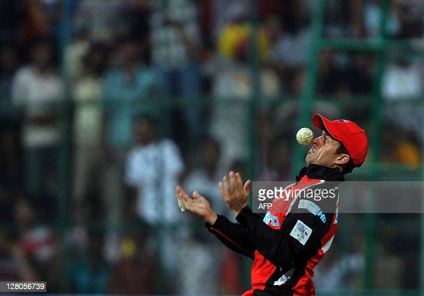 South Austrailian Redbacks fielder Cameron Borgas drops a catch off Royal Challengers Bangalore batsman Virat Kholi during the Champions League...