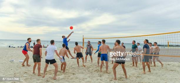 South Australia Australia 9 November 2017 Selector Dermot Earley as the Ireland International Rules Squad play a game of Volleyball at Glenelg Beach...