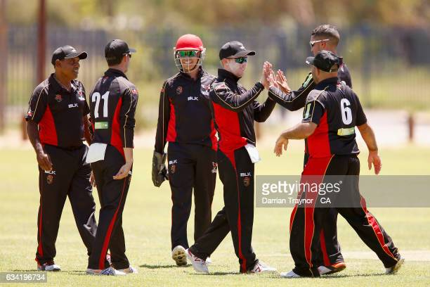 South Australia celebrates a wicket during the National Indigenous Cricket Championships match between South Australia and Tasmania on February 8...