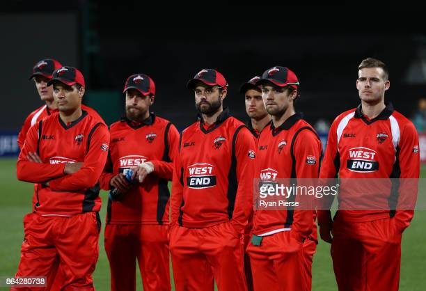 South Australia look dejected after the JLT One Day Cup Final match between Western Australia and South Australia at Blundstone Arena on October 21...