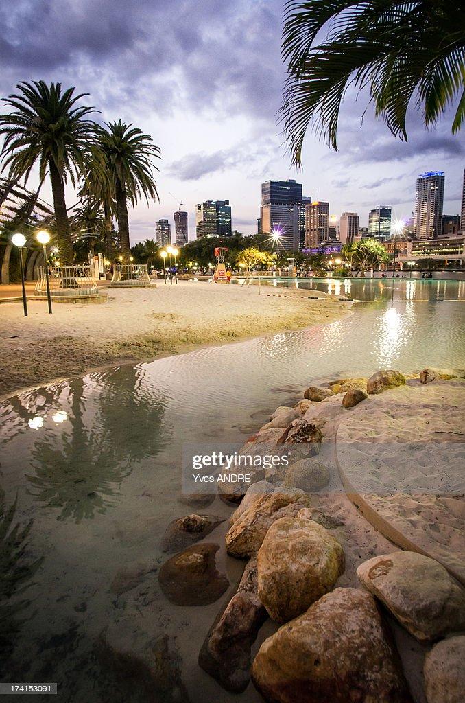 South Bank Beach in Brisbane : Stock Photo