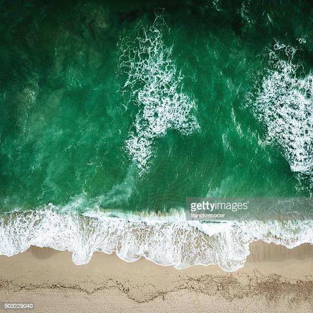 サウスビーチマイアミの海辺の空からの眺め