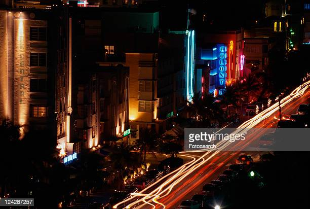 South Beach Miami strip at night