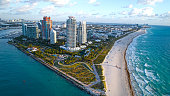 South Beach Miami Sunrise Aerial Overview Sunny Beach and Waves