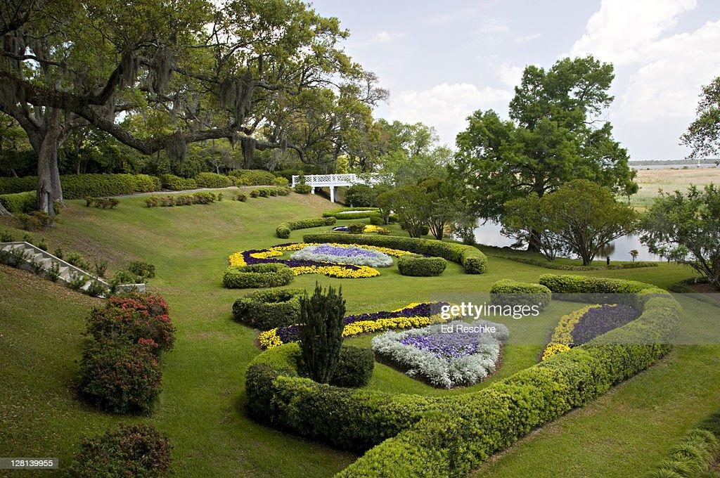 South Belvedere and Scroll Garden at Orton Plantation Gardens, near Wilmington, North Carolina, USA