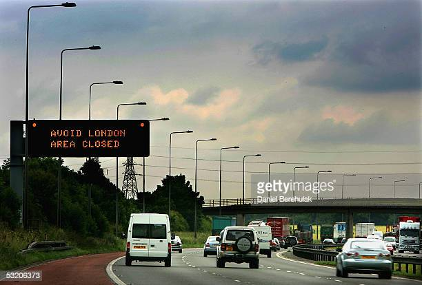 South bound traffic passes a sign on the M6 motorway advising them that London is best avoided following a series of explosions July 2005 in...