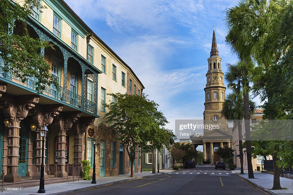 USA, South Carolina, Charleston, Church Street, Dock Street Theater, St. Philip's Church