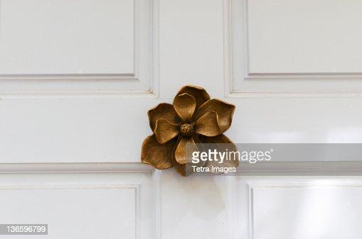 USA, South Carolina, Charleston, Close up of door knocker in shape of flower