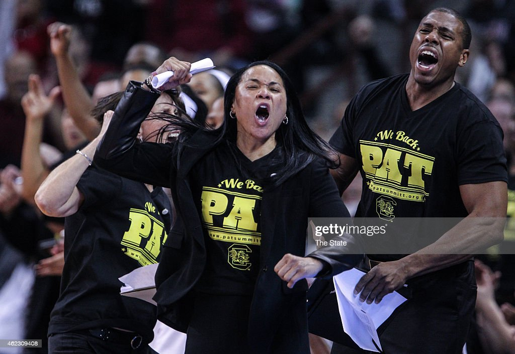 South Carolina coach <a gi-track='captionPersonalityLinkClicked' href=/galleries/search?phrase=Dawn+Staley&family=editorial&specificpeople=209196 ng-click='$event.stopPropagation()'>Dawn Staley</a> and assistant coaches Lisa Boyer and Darius Taylor react as South Carolina pulls to a 10-point lead at the end of the first half on Monday, Jan. 26, 2015, at Colonial Life Arena in Columbia, S.C.