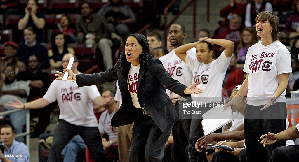 South Carolina coach Dawn Staley and the bench disagree with an official's call during a women's college basketball game against Kentucky at Colonial Life Arena in Columbia, South Carolina, Thursday, January 24, 2013. The South Carolina Gamecocks defeated the Kentucky Wildcats, 55-50.