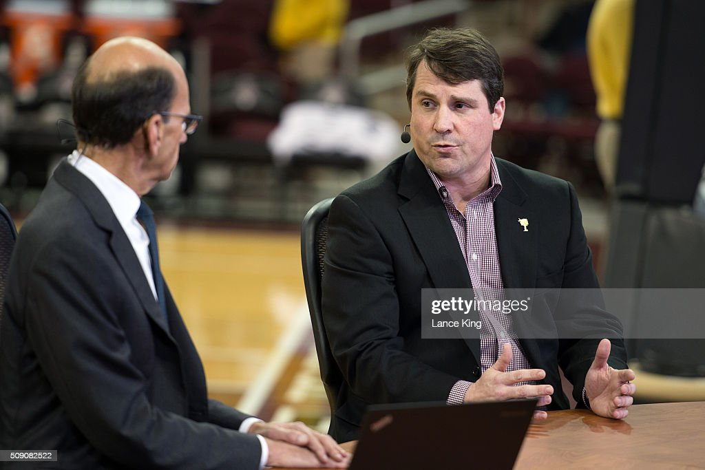 South Carolina football head coach <a gi-track='captionPersonalityLinkClicked' href=/galleries/search?phrase=Will+Muschamp&family=editorial&specificpeople=2248036 ng-click='$event.stopPropagation()'>Will Muschamp</a> (R) speaks with radio personality Paul Finebaum prior to the game between the Connecticut Huskies and the South Carolina Gamecocks at Colonial Life Arena on February 8, 2016 in Columbia, South Carolina.