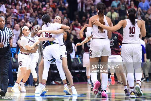 South Carolina Gamecocks celebrate during the 2017 Women's Final Four at American Airlines Center on March 31 2017 in Dallas Texas
