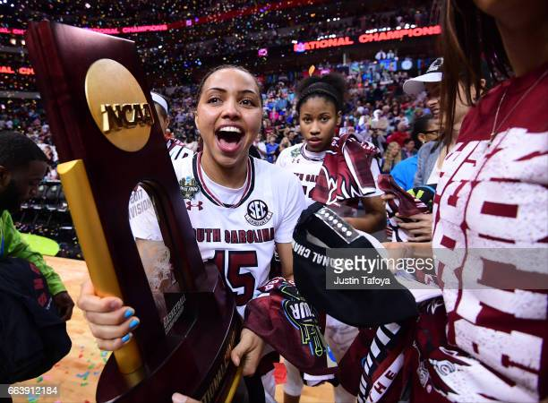 South Carolina Gamecocks celebrates during the 2017 Women's Final Four at American Airlines Center on April 2 2017 in Dallas Texas