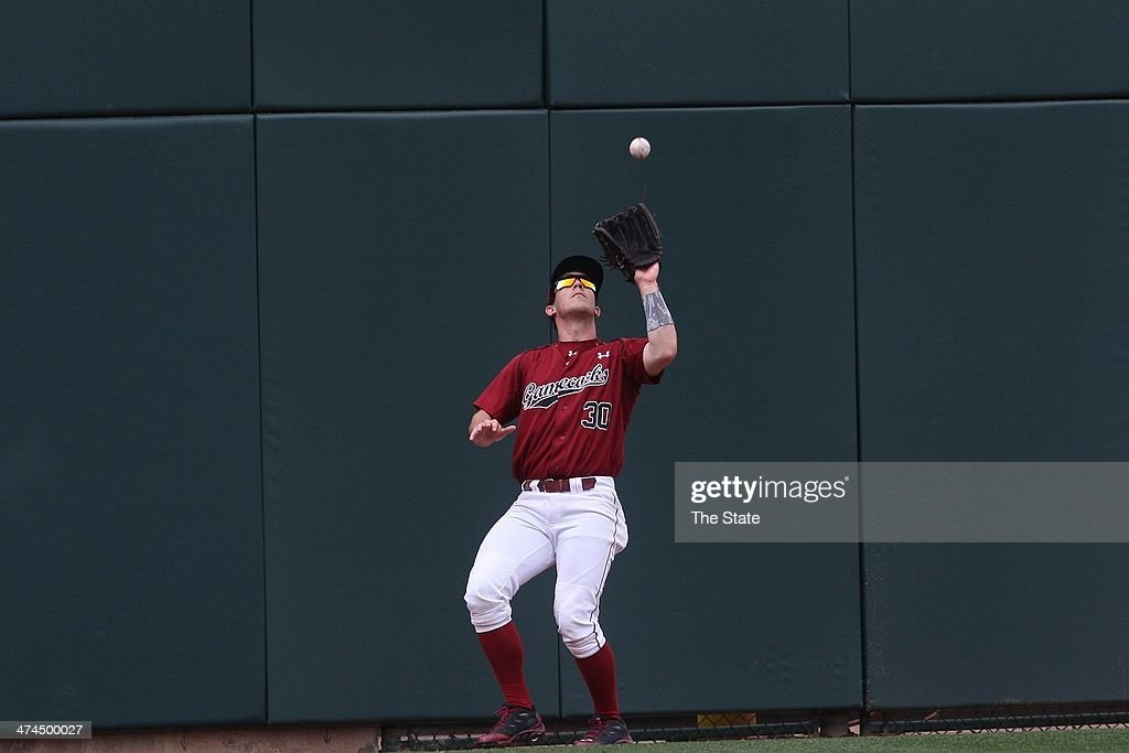 South Carolina Gamecocks' Elliot Caldwell has to back all the way up against the wall to make a catch in the top of the third inning against the Eastern Kentucky Colonels in Columbia, S.C., on Sunday, Feb. 23, 2014.