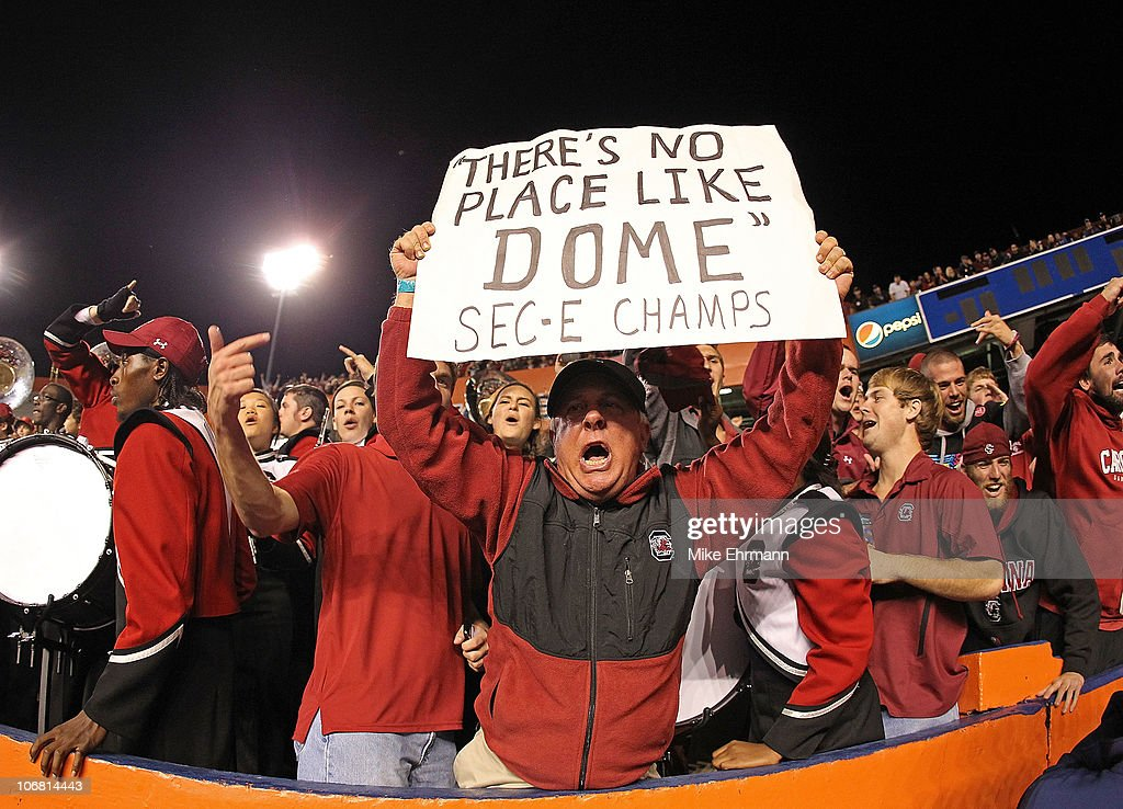 A South Carolina Gamecocks fan holds a sign claiming the SEC East Champions during a game against the Florida Gators at Ben Hill Griffin Stadium on November 13, 2010 in Gainesville, Florida. The Gamecocks beat the Gators 36-14.