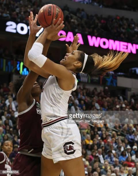 South Carolina Gamecocks forward A'ja Wilson takes a shot against Mississippi State Lady Bulldogs center Teaira McCowan in the NCAA Women's...