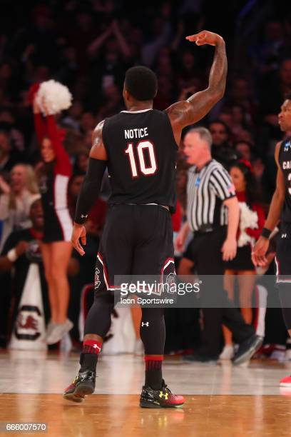 South Carolina Gamecocks guard Duane Notice after making a 3 point basket during the second half of the 2017 NCAA Men's Basketball Tournament East...