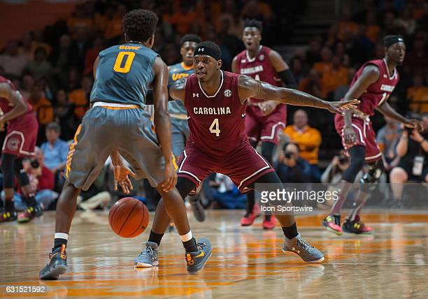 South Carolina Gamecocks guard Rakym Felder playing defense on Tennessee Volunteers guard Jordan Bone during a game between the South Carolina...